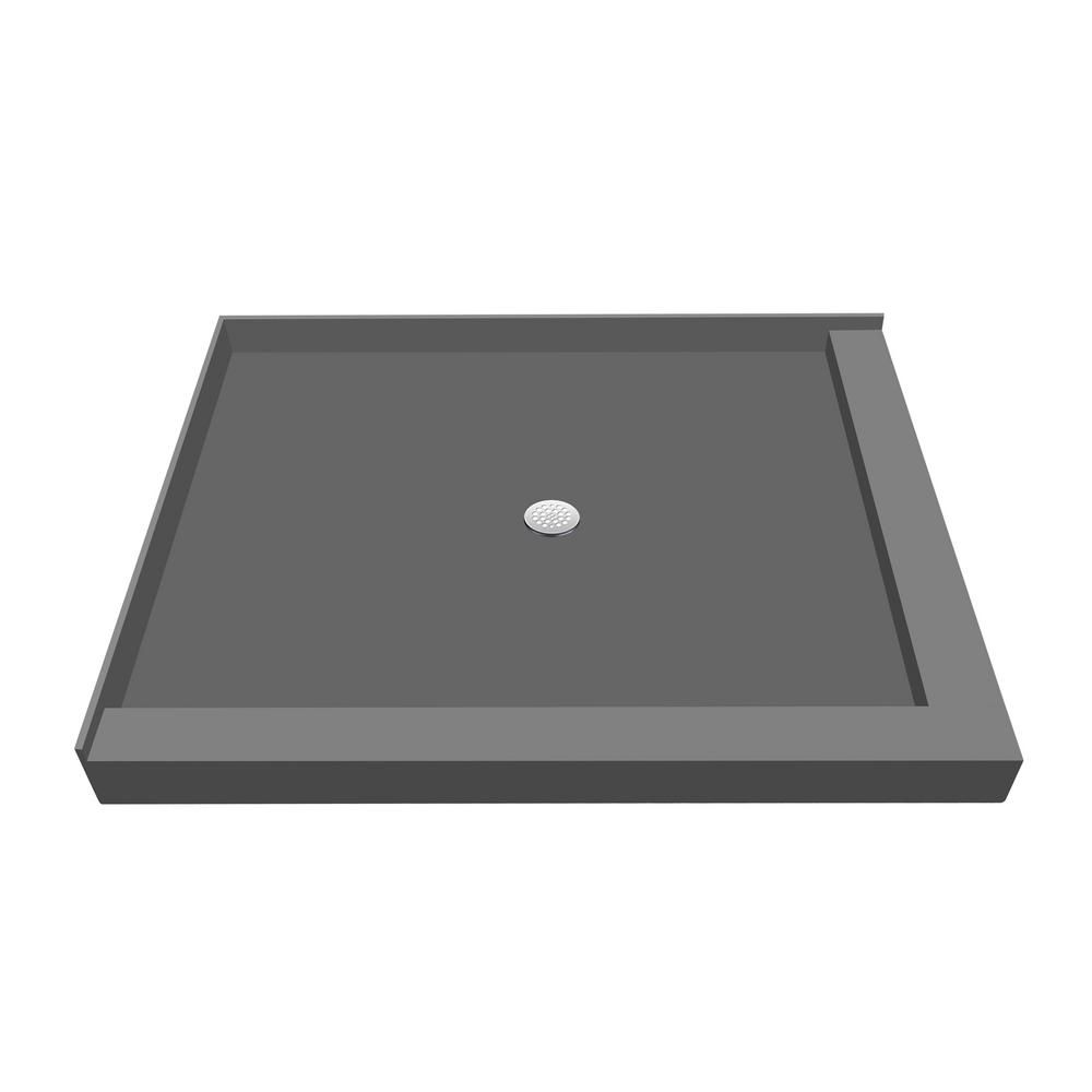 Tile Redi 32 In X 36 In Double Threshold Shower Base In Gray With Center Drain Shower Base Tile Redi Tile Redi Shower Pan