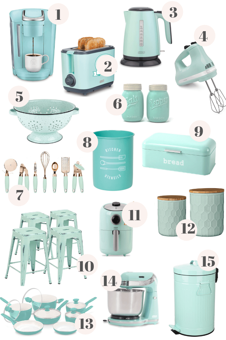 Mint Green Kitchen Decor From Amazon Diy Darlin In 2020 Mint Green Kitchen Green Kitchen Decor Blue Kitchen Decor