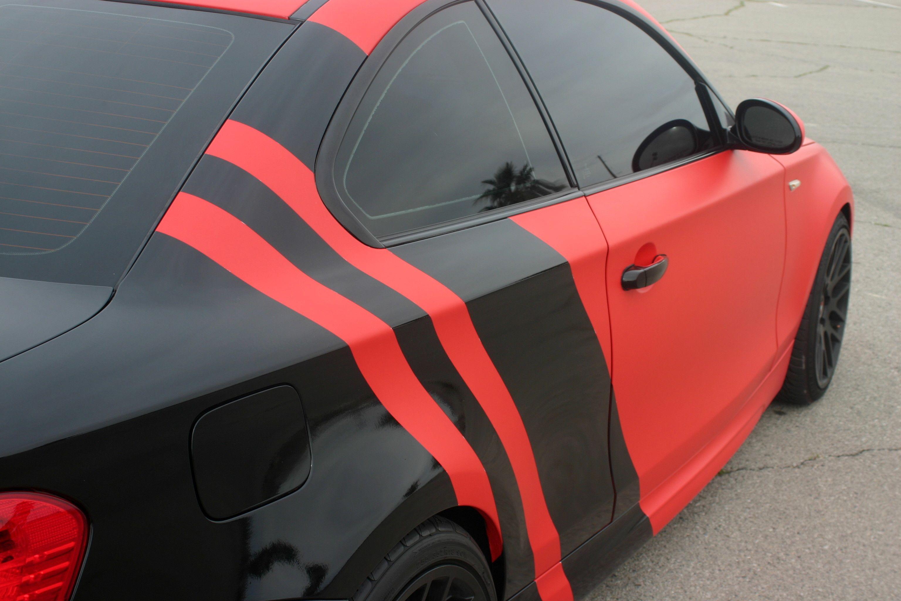 2008 Bmw 135i With 3m 1080 M13 Matte Red Vinyl With 3m 1080 G12 Gloss Black Vinyl Eyecandyvehiclewraps Lasvegas Bmw Bmw1 Black Vinyl Matte Red Gloss Black