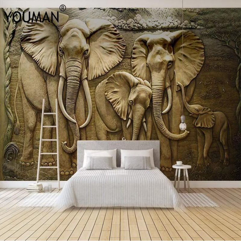 Pin By Vinay Grewal On Wallpaper Designs For Walls In 2020 Elephant Home Decor Elephant Wallpaper 3d Wall Murals