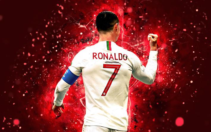 Download wallpapers 4k, Cristiano Ronaldo, white uniform
