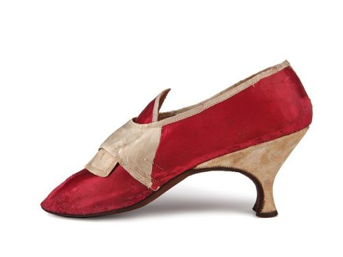 Scarlet satin high white leather Louis heel shoes.  Great Britain. C. 1775-1785