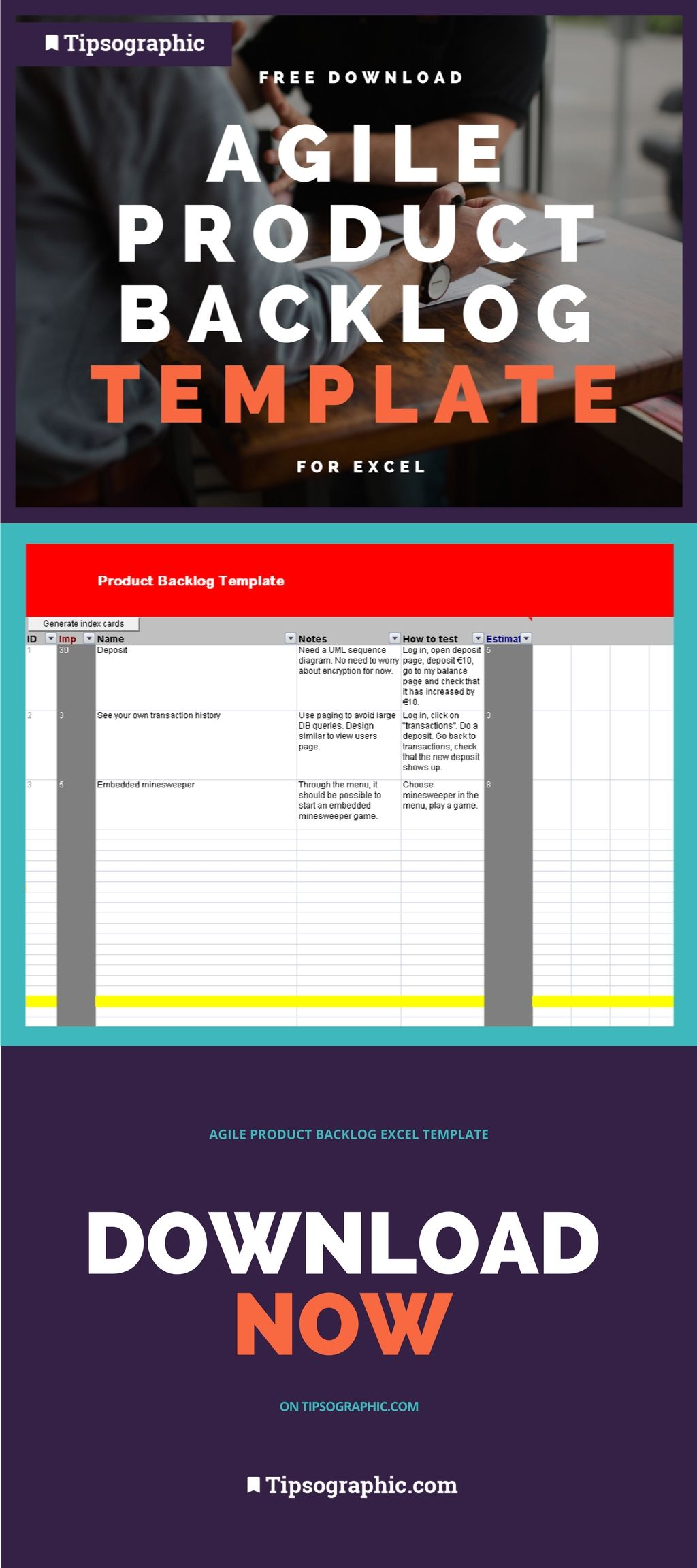 Agile Product Backlog Template For Excel Free Download  Project