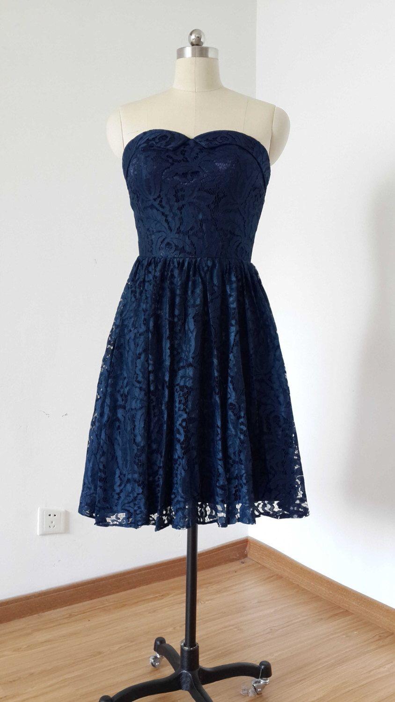 aline sweetheart navy blue lace short bridesmaid dress