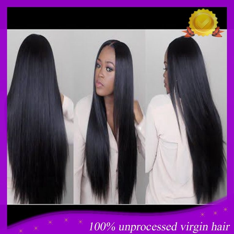 Long Middle Part Full Lace Human Hair Wigs Peruvian Virgin Hair Silky Straight Lace Front wig 10''-26'' For Black Women
