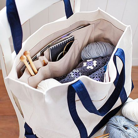 Photo of free sewing pattern (without instructions) bag for knitting