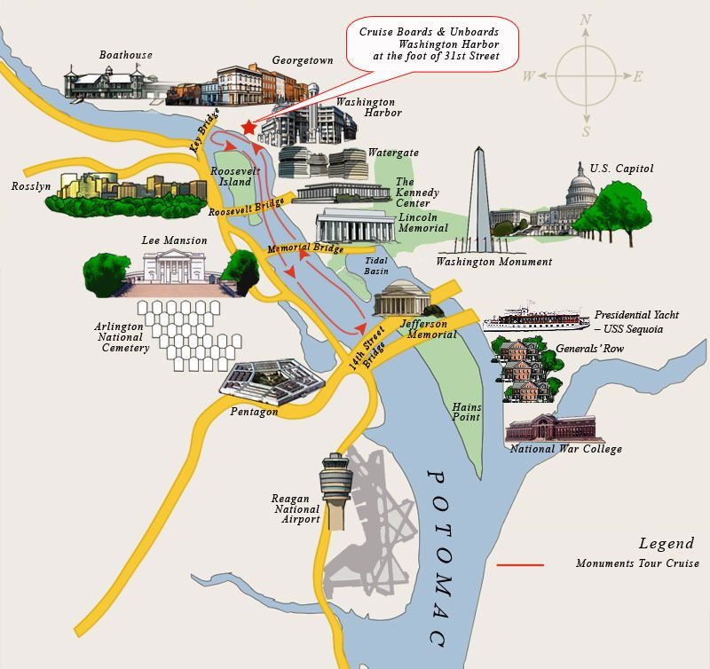 Washington DC Monuments Map  America the Beautiful Places to