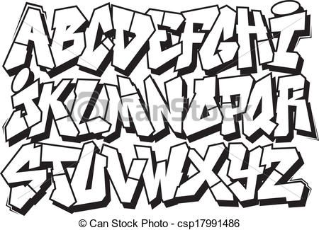 Cool graffiti. Font vector clipart illustrations