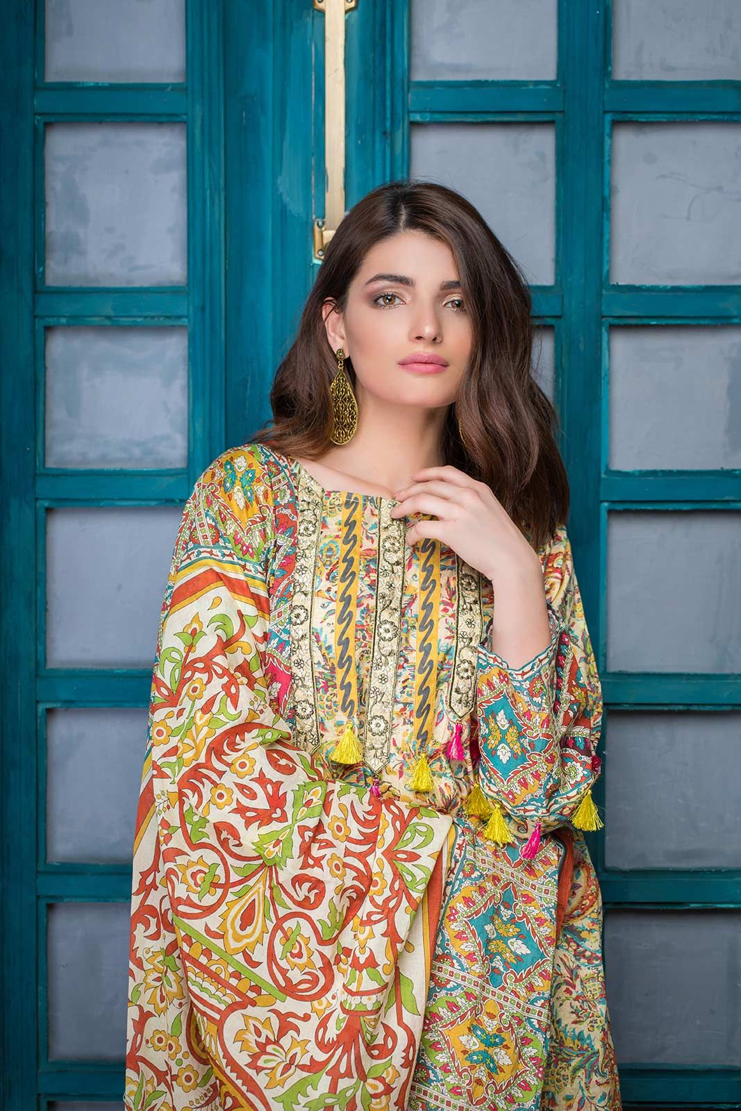 d567774180 yellow colored three piece Pakistani stitched lawn dress by Bonanza Satrangi  Eid collection 2018#springcollection #spring #readytowear #pretwear # unstitched ...
