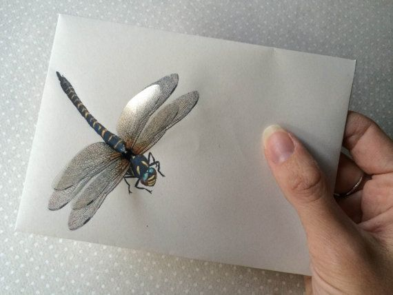 Dragonfly  Handmade Note Art Card with by TheButterfliesShop