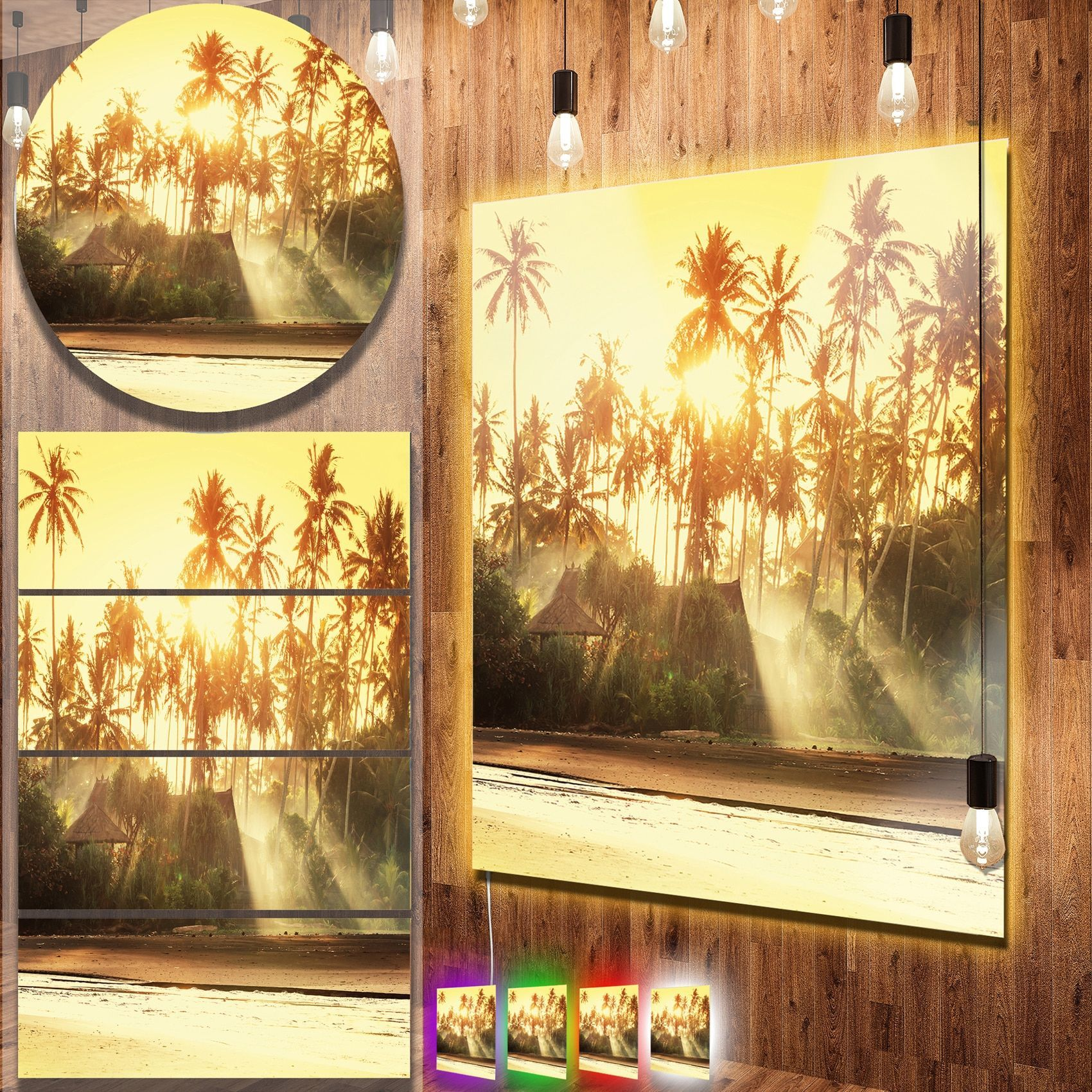 Designart \'Bamboo Huts on Tropical Island\' Landscape Metal Wall Art ...