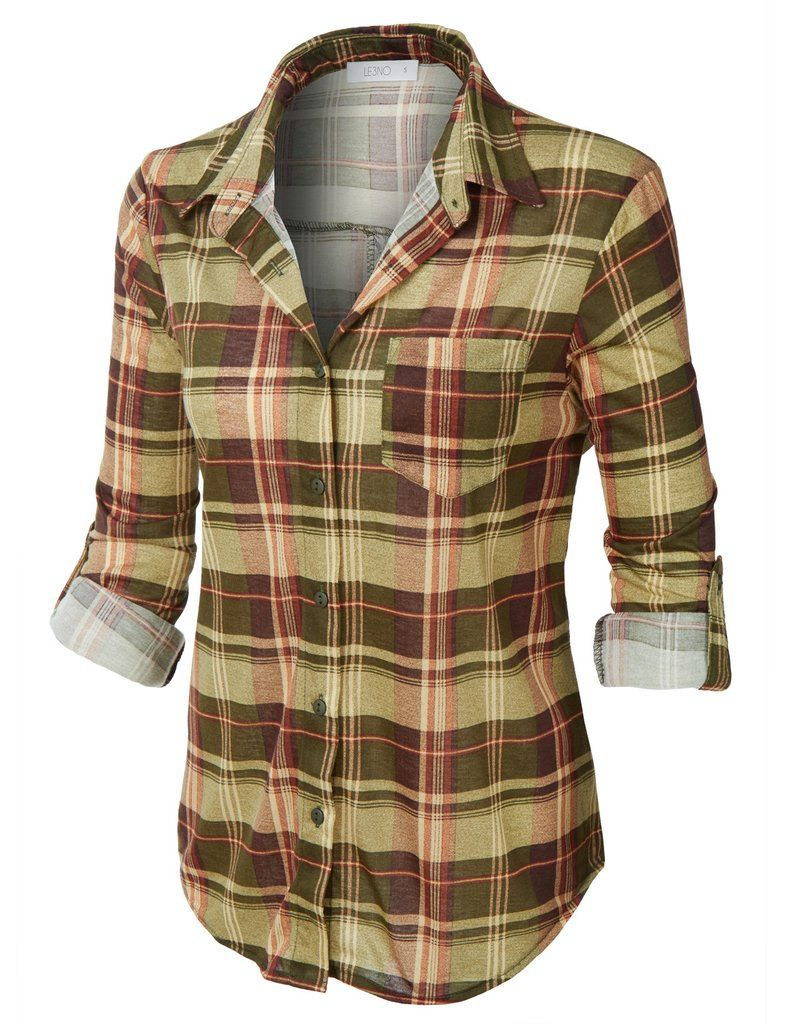 ed0b22c1 LE3NO Womens Plaid Roll Up Sleeves Button Down Shirt with Lace Detail