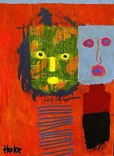 WALKING IN LONDON Hoke Outsider Painting RAW Abstract Art Brut Original nAIVE