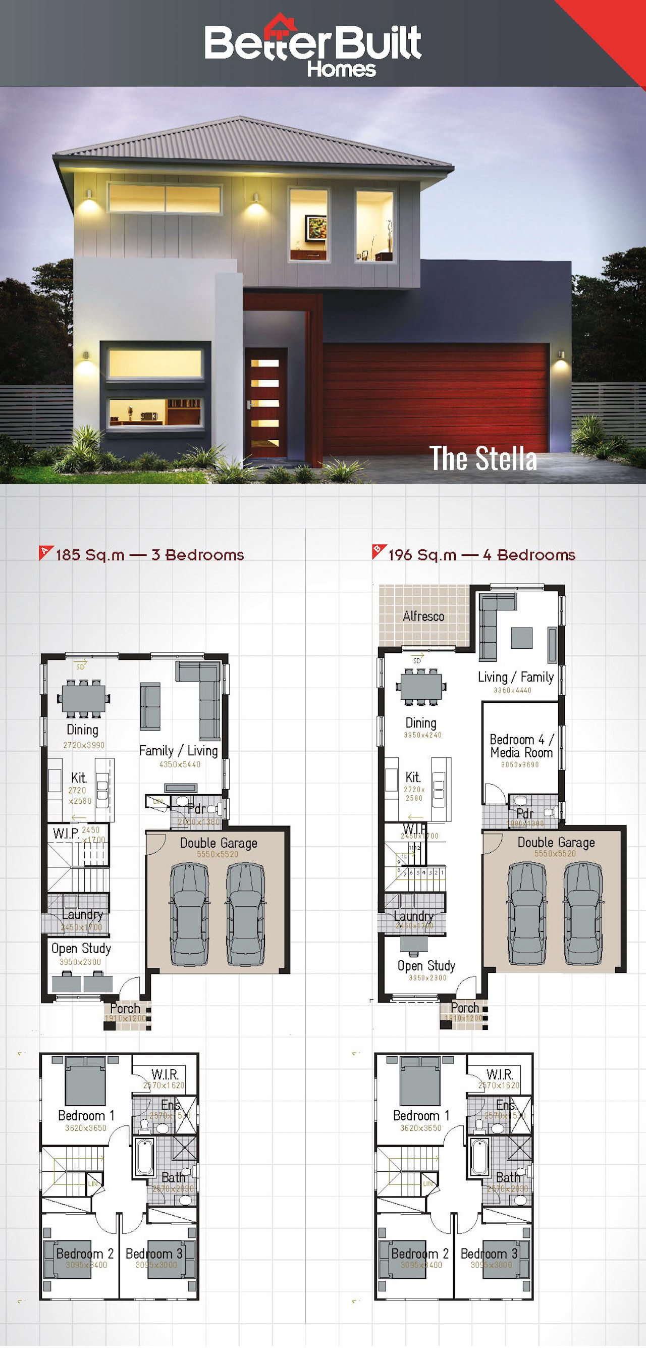 The Stella Double Storey House Design Betterbuilt Floorplans Double Storey House Container House Plans House Plans