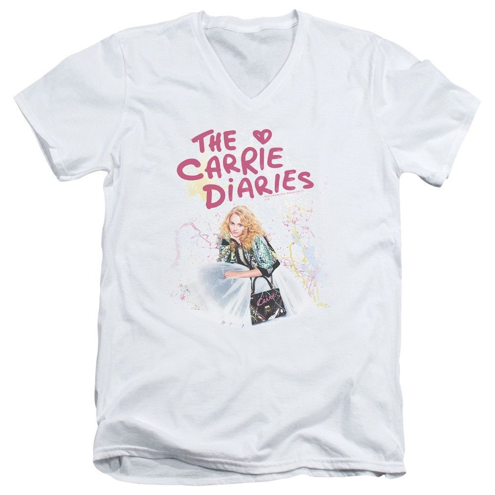 Carrie Diaries/Crouching Short Sleeve Adult T-Shirt V-Neck 30/1 in