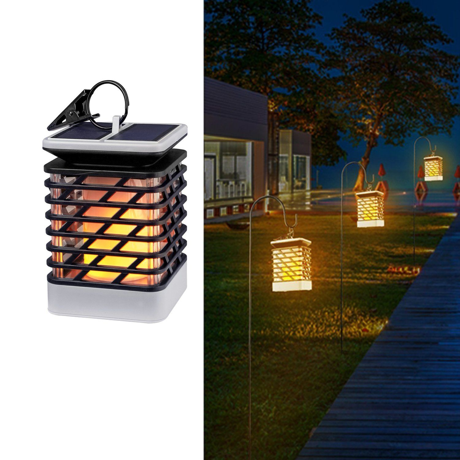 Solar Lights Outdoor Espier Led Flickering Flame Torch Ed Lantern Hanging Decorative Atmosphere Lamp