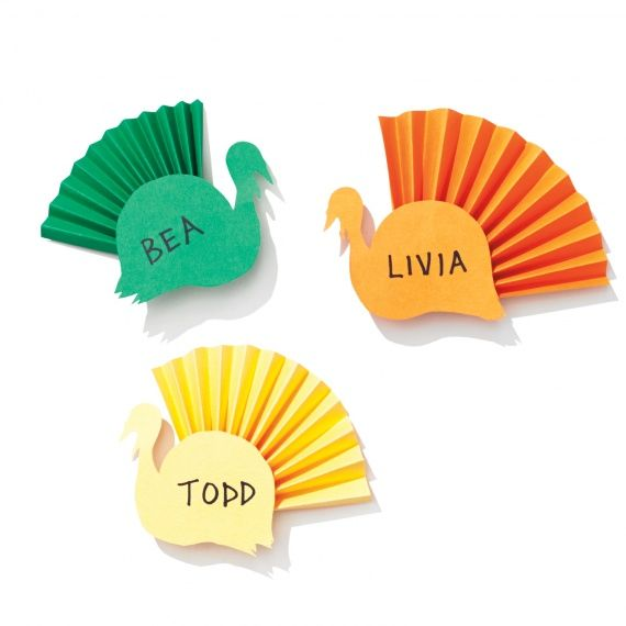 Colorful Paper Turkey Place Cards Thanksgiving Place Cards