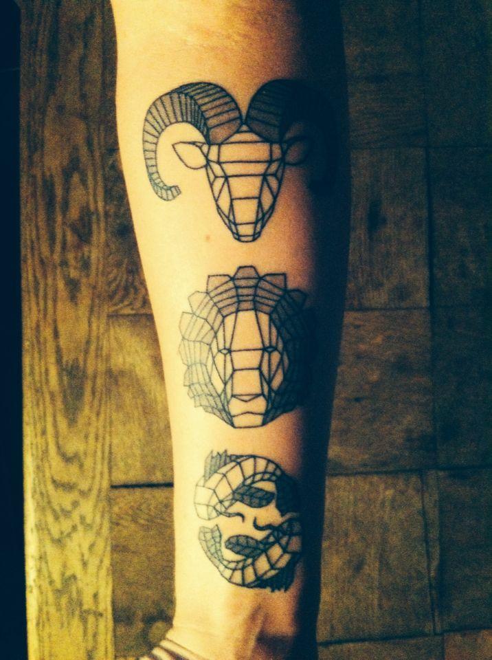 790ec6782 Minimal zodiac tattoo. Aries, lion and pisces. Line tattoo. Geometric tattoo.  Minimalistic tattoo