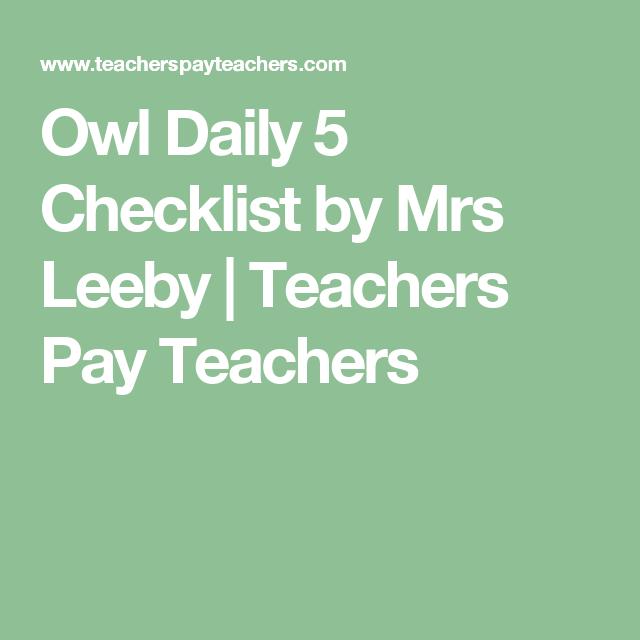 Owl Daily 5 Checklist by Mrs Leeby | Teachers Pay Teachers ...