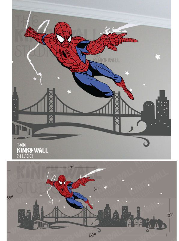 Spiderman Cityscape Giant Wall Decals Wall Sticker Outlet - Large superhero wall decals