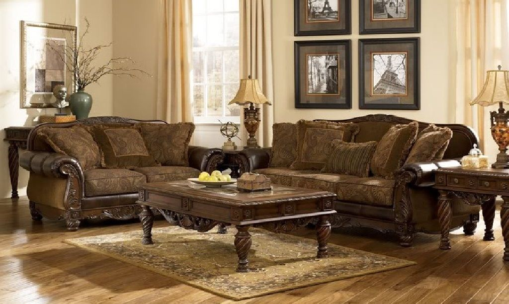 Traditional Brown Fabric Wood Trim Sofa Couch Set Living Room