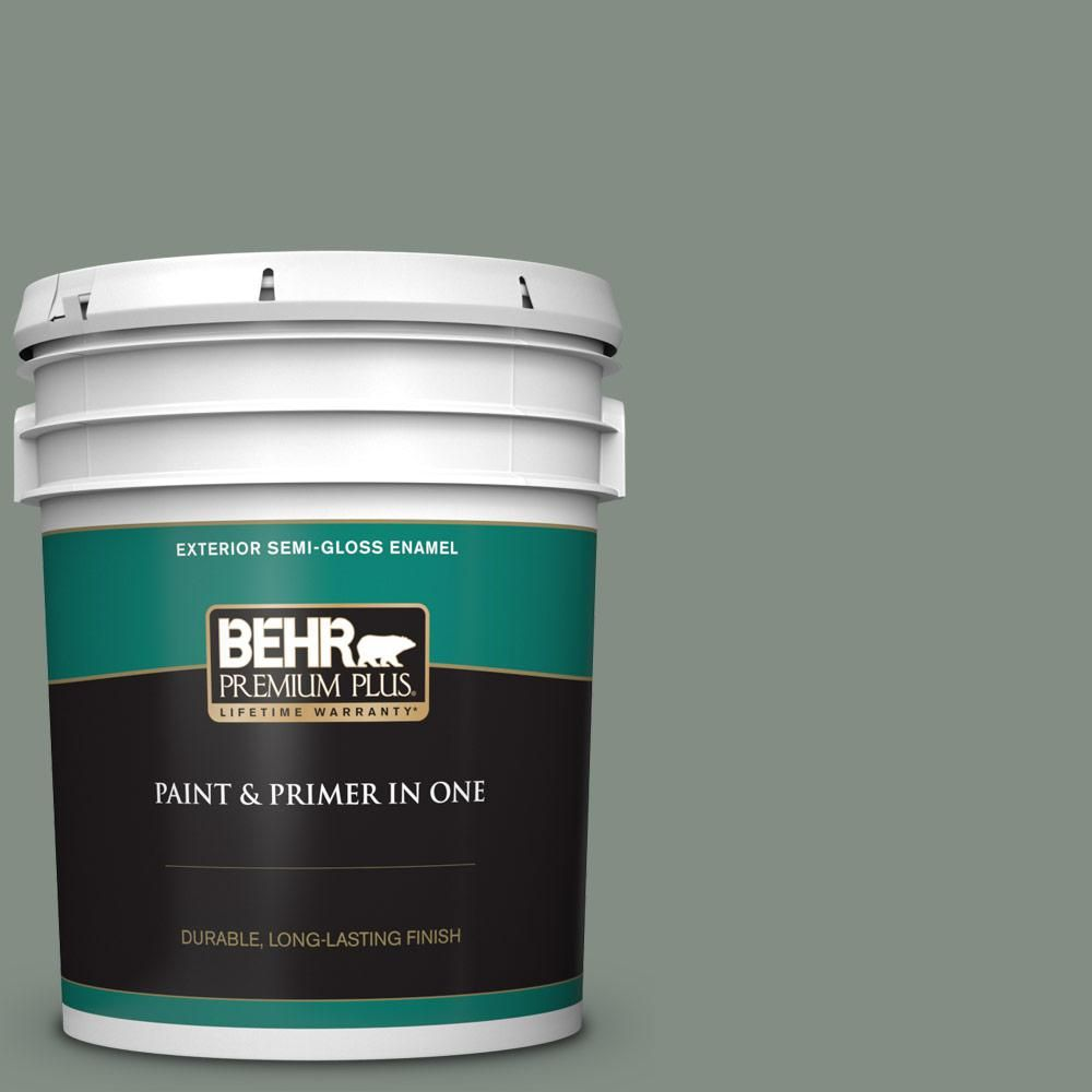 Behr Premium Plus 5 Gal Ecc 49 3 Forest Moss Semi Gloss Enamel Exterior Paint And Primer In One 534005 The Home Depot Exterior Paint Behr Interior Paint