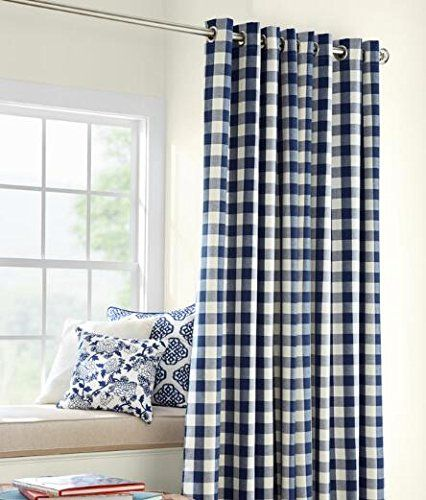 Buffalo Check Grommet Top Curtains, Red-63
