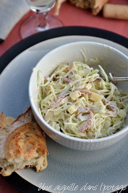 Salade de chou aux lardons et comté , sauce au yaourt