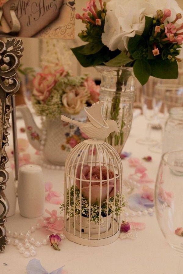 mini jaulas de aves como de boda vintage
