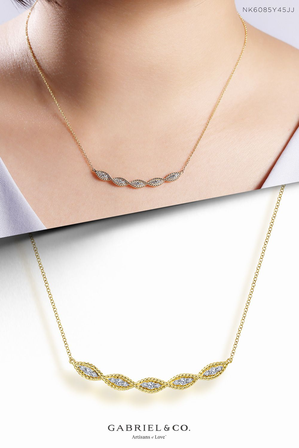 14k Yellow Gold Twisted Rope Curved Diamond Bar Necklace In 2021 Bar Necklace Diamond Bar Necklace Gold Bar Necklace