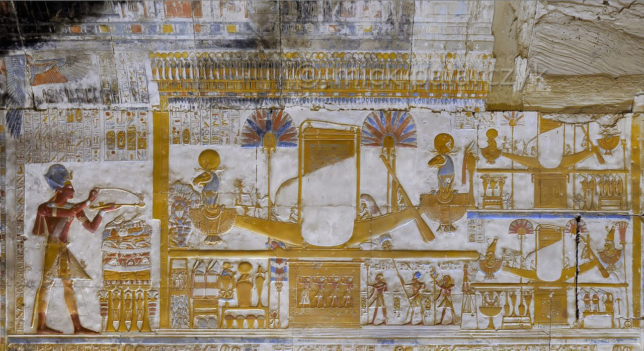 Egypt uportable barques of amun mut and khonsu at abydos