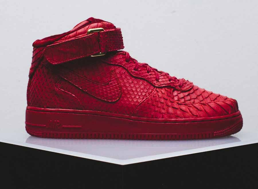 new concept 790e4 8dcd4 python red air force 1 mid 3 Nike Air Force 1 Mid Red Python Customs for  FourTwoFour on Fairfax by The Shoe Surgeon