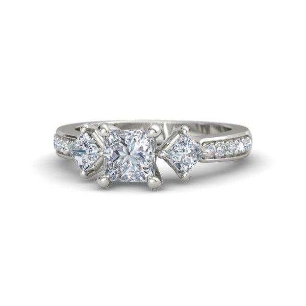 Princess Diamond 14K White Gold Ring with Diamond - Caroline Ring | Gemvara