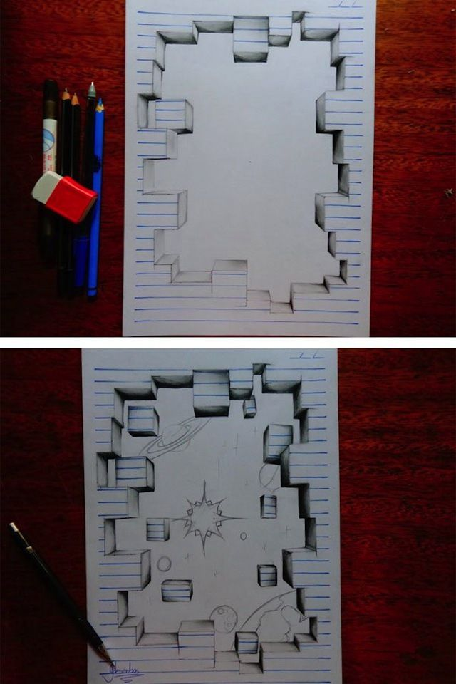 Teenage Artist Warps Notebook Paper into 3D Drawings | 3d ...