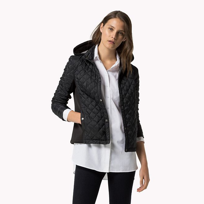 Tommy Hilfiger Gesteppt Jacke Caviar Schwarz Tommy Hilfiger Mantel Jacken Hauptbild Jackets For Women Jackets Hooded Jacket