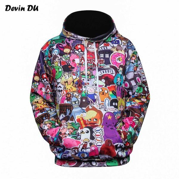 devin du anime hoodies men women 3d sweatshirts with hat hoody