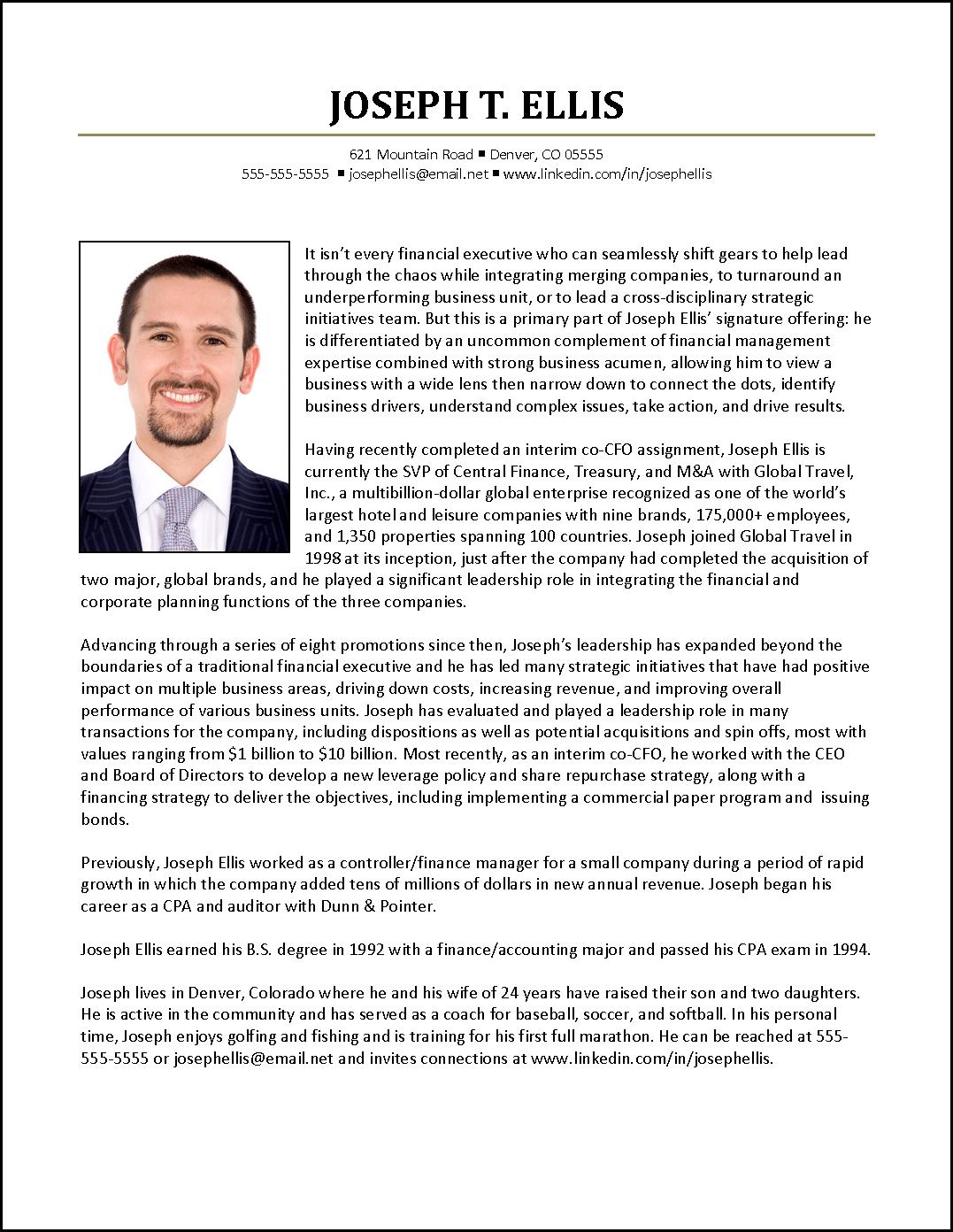 Executive Biography Example for CFO  Biography template, Example