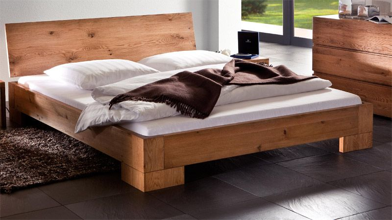massivholzbett bett modern eiche natur geölt nala   bedroom