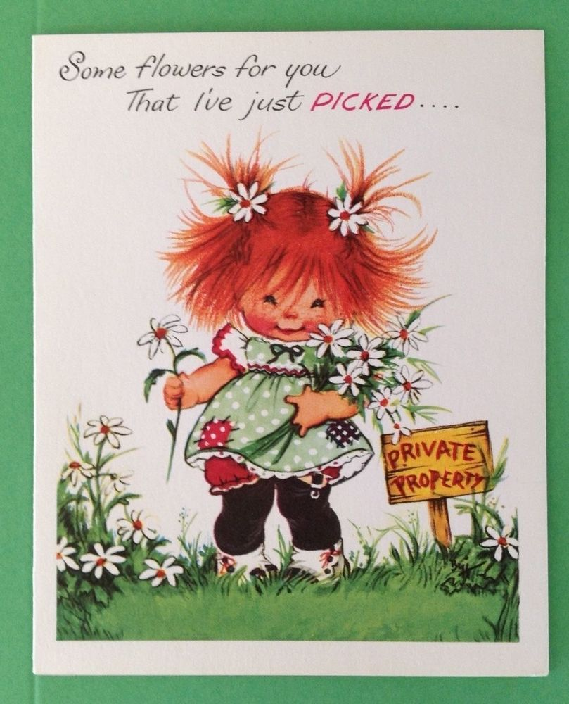 Vintage Get Well Card Redhead Picking Daisies Cards Greeting Redheads