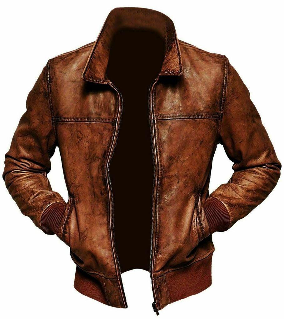 Men S Vintage Brown Leather Biker Jacket In 2020 Cafe Racer Leather Jacket Brown Leather Jacket Men Distressed Leather Jacket [ 1024 x 909 Pixel ]