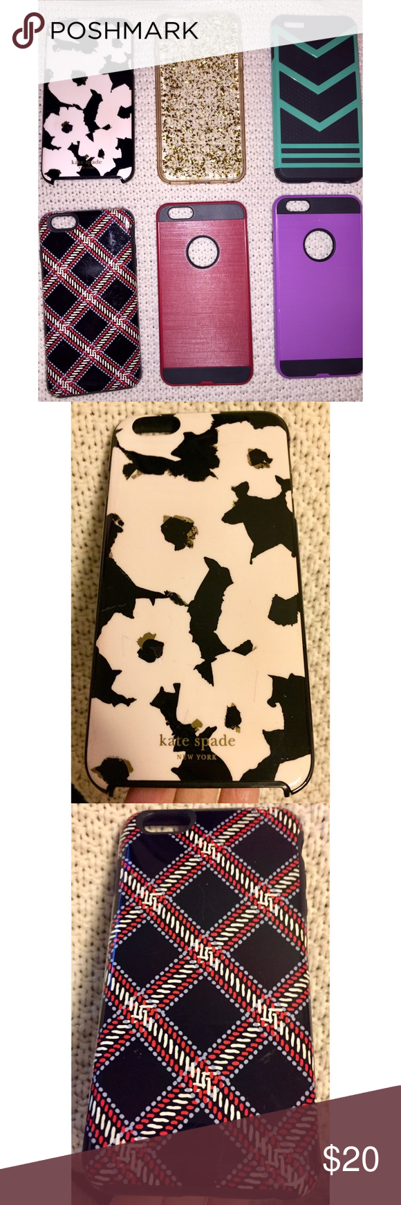 Kate Spade, Vera Bradley+ 4 for iPhone 6+ Lot of 6 Kate Spade, Vera Bradley + 4 cases all for iPhone 6+   This is for a Lot of 6 iPhone cases.   ***Moving and trying to scale down and de-clutter***  Pre-owned; Gently used cases  Included cases:  Kate Spade - flowers Vera Bradley - plaid Clear case with gold flakes Red w/blk Purple w/blk Blk/Aqua  If you have any questions, please let me know.  Don't like the price, please make me a reasonable offer.  Thanks for stopping by and visiting my clos #katespadewallpaper