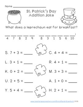 St Patrick S Day Addition And Subtraction Jokes Addition And Subtraction Subtraction Subtraction Facts