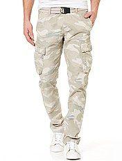 Pantalón cargo entallado de camuflaje + cinturón