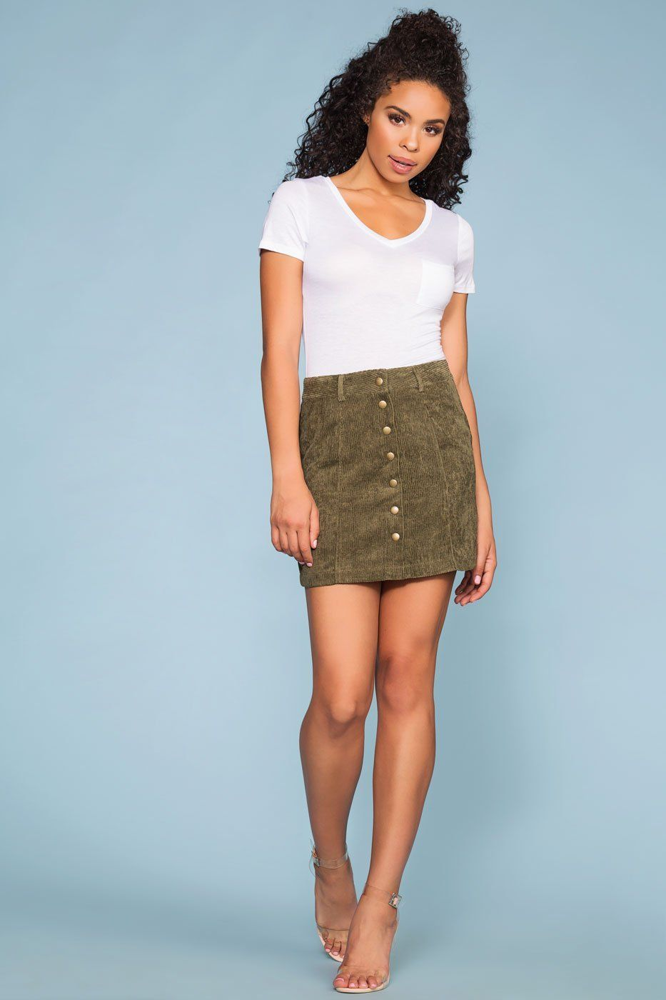 27ace96195d Olive Green Corduroy Skirt