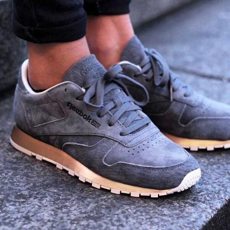 reebok classic sneakers with patent heel detail