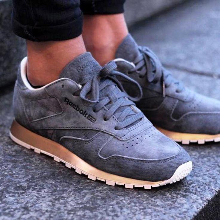 Girlsonmyfeet  Women Sneakers Style Suede TrainersGrey TrainersNike Style Mens StyleWomen Shoes HeelsWoman ShoesClassic LeatherReebokMetals