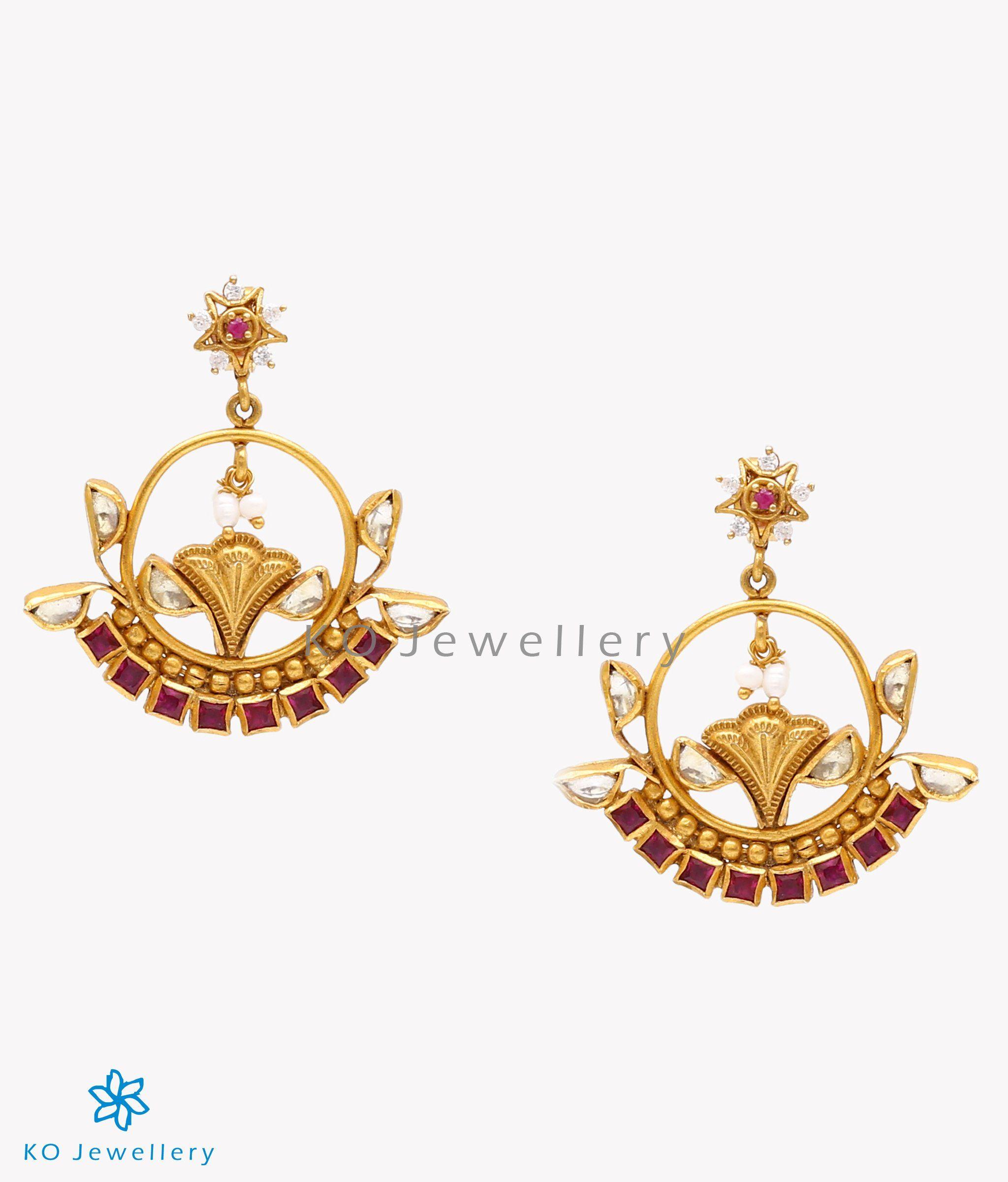 0aed24e8e The Nazm Silver Kundan Earrings-Buy jadau jewellery from jaipur online - KO  Jewellery