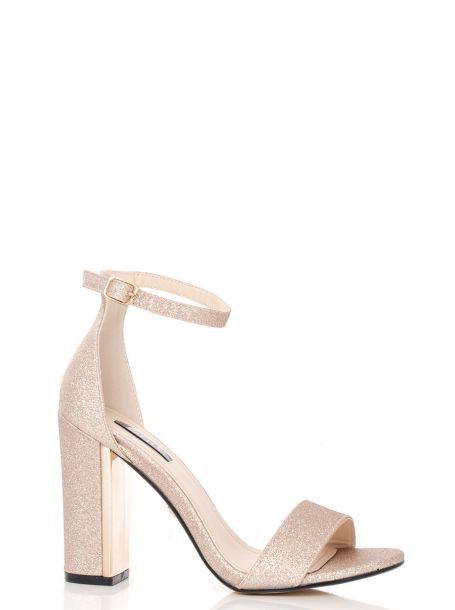 Champagne Fine Glitter Block Heel Sandals Wedding Shoes