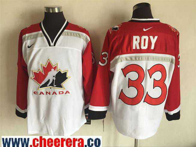 067d2a21508 Men s 1998 Team Canada  33 Patrick Roy White Nike Olympic Throwback  Stitched Hockey Jersey