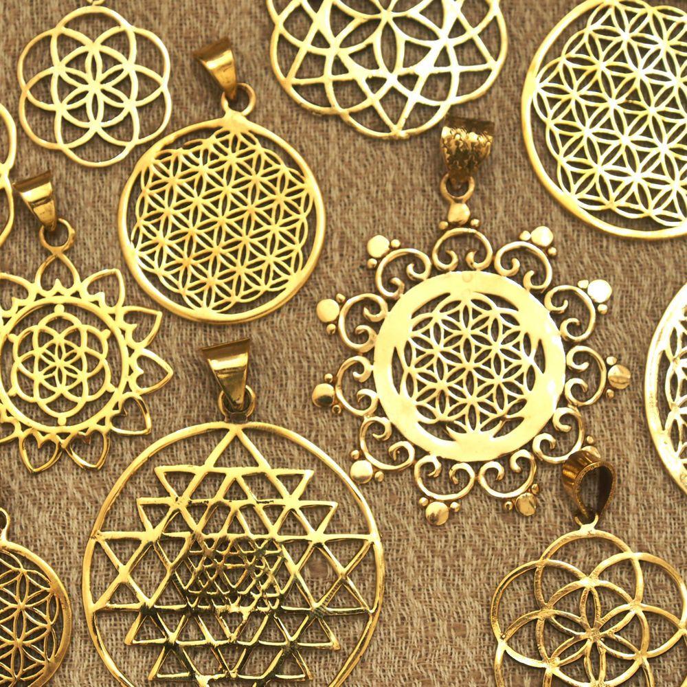 Spiritual Pendant Brass Flower of Life pendant